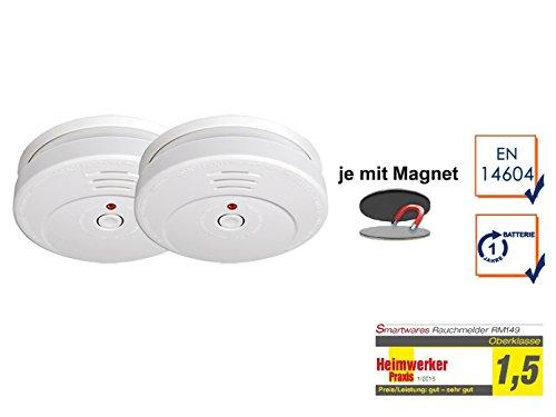 SMARTWARES 2er-Set Rauchmelder reinweiß mit Magnethalter, 85dB Alarm, TÜV zertifiziert; RM149...