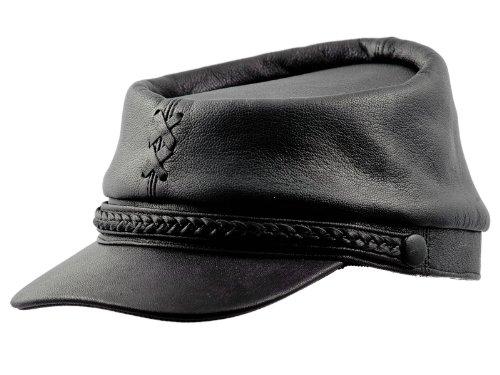Sterkowski Echt Leder Bürgerkriegs Sezessionskrieg Kepi Mütze 65 cm Schwarz