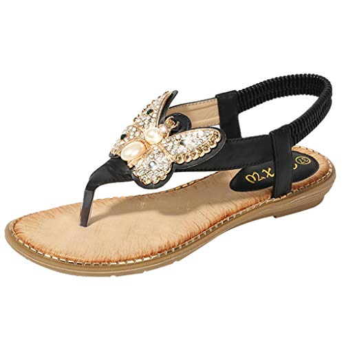 Hotsell〔☀ㄥ☀〕Women Summer Beach Sandals Boho Rhinestone Cute Butterfly Shape Flip Flops Flat Low Heel Ankle Strap Post Thongs Shoes School Teens Girls Sandals