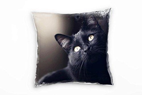 Paul Sinus Art Tiere, Katze, Grüne Augen, Schwarz Deko Kissen 40x40cm für Couch Sofa Lounge Zierkissen - Dekoration Zum Wohlfühlen Hergestellt in Deutschland