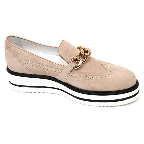 D0618 mocassino donna HOGAN H323 n. route zeppa beige/nero slip on shoe woman Beige