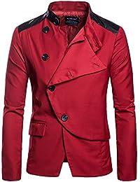 f211bf5d18b6 Geili Herren Sakko Blazer Anzug Jacke mit Stehkragen Slim Fit Langarm Knopf  Anzugssakko Herbst Winter Freizeit Business Anzugjacke…