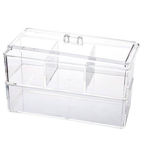 greencolourful Kosmetik Organizer Acryl Swab Halter Kristall Organizer Box Make-up Beauty Container -