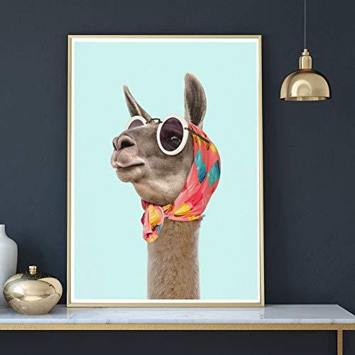 Mode Lama Kunstdruck Leinwand Poster und Drucke Modernes Kleid Lama Halstuch Sonnenbrille Foto Bild Wandkunst Dekoration 40X60cm Ohne Rahmen
