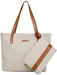 Sornean Sornean Woman Hangbags Canvas Top Handle Tote Bags Shoulder Purse 2Pcs Set (Off White)