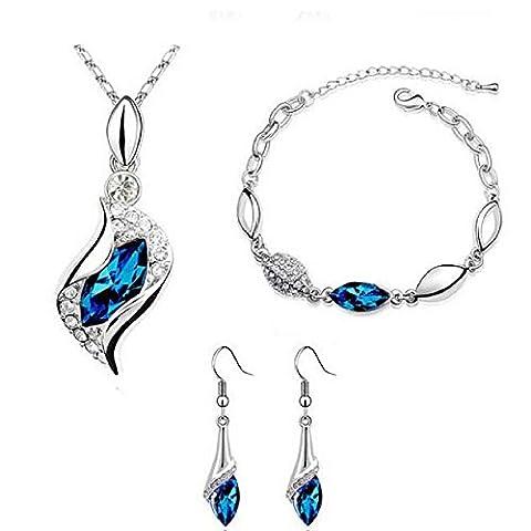 Rcool Fashion Women Girl Jewelry Set Necklace Pendant Drop Earring Bracelet Crystal Set Jewelry (Blue)