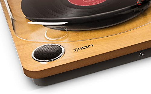 ION Audio Max LP Belt-Drive Vinyl Record Player Turntable with Built-In Stereo Speakers and USB Conversion - Vintage Wood