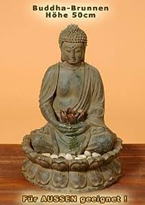 buddha brunnen mit led beleuchtung h he 50cm aussen geeignet k che haushalt. Black Bedroom Furniture Sets. Home Design Ideas