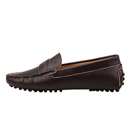 Shenduo Scarpe Donna - Mocassini Donna di pelle liscia comode loafers scarpe casual D7052 Marrone