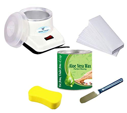 Global Trends Waxing 'Electric Wax Heater Device, Full Body Aloe Vera Wax (600 g) Tin Can, Non-Woven Waxing Strips (90 Strips), Wax Applicator Knife and Cleansing Sponge' Waxing Kit