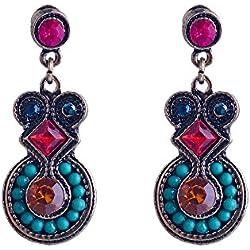 Lureme Estilo étnico cristales de colores caen pendientes para las mujeres y las niñas (02002924)