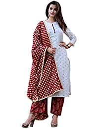 Bagda Fashion Women's Cotton & Rayon Salwar Suit (KPCWM_White_XX-Large)