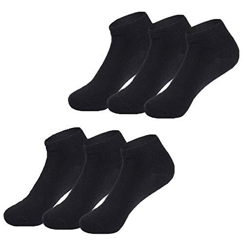 Falechay Sneaker Socken Herren Damen 6 Paar Kurze Halbsocken Quarter Baumwolle Unisex-Schwarz-39-42 -