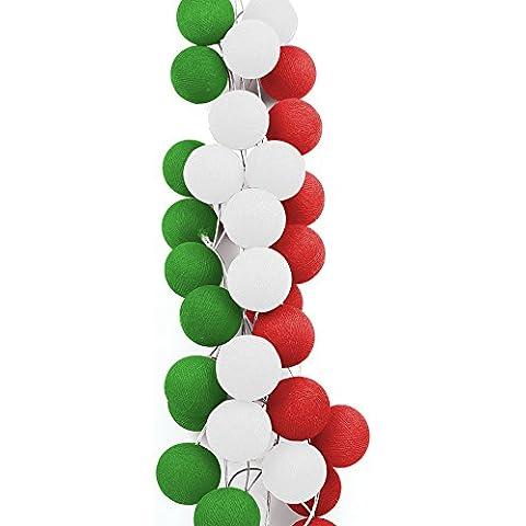 Autentici Sfere Magiche Multicolore CABLE & COTTON® - Giochi Olimpici di Rio 2016 - Bandiera dell'Italia – Ghirlanda di 20 sfere luminose per illuminare la vostra casa - Sfera Giardino Bandiera