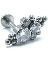 a0121a517 NewkeepsR 16G G23 Titanium Internally Threaded Cubic Zirconia Bezel Cluster  Top Cartilage Labret Stud