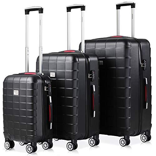 Monzana Hartschalenkoffer Kofferset 3 teilig | M L XL Schwarz | TSA Schloss | Gel-Griff | Reisekoffer Trolley Koffer Set