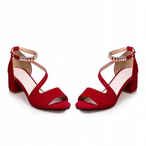 MissSaSa Donna Sandali col Tacco Metà Elegante e Fashion Rosso