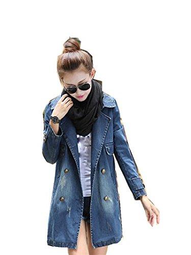 Mantel Damen ,LMMVP Frauen Langarm Jeansjacke Lange Jean Mantel (XXXXL, Blue) (Gefütterter Wolle-mischung)