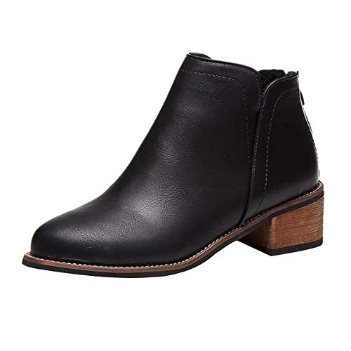 Damen Stiefeletten Xinantime Damen Frauen Stiefel Quadrat Fersen Plattform Leder Boots Schenkel-Hohe Pumpe lädt Sunday Schuhe 35-41