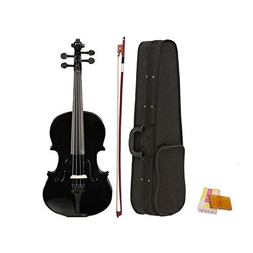 Handcrafted Acoustic Violin Starter Kit 4/4 Full Size mit Hard Case, Bogen & Zubehör Geeignet für Violinanfänger und professionelle Konzerte (Schwarz) (E-geige-starter-kit)
