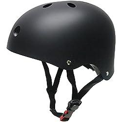Monopatín casco, SKL casco tamaño ajustable ABS para ciclismo rodillo patinaje deportes al aire libre, color negro, tamaño mediano