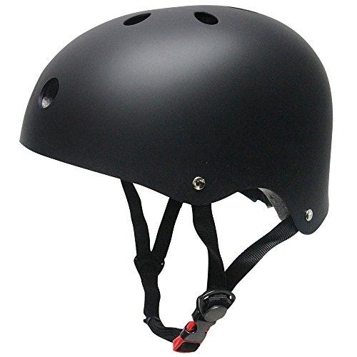 SKL Kinderhelm Jugend BMX Bike Skater Helm Fahrradhelm Schutzhelm Kinder Mädchen Sicherheit Verstellbar Helm (M, Schwarz)