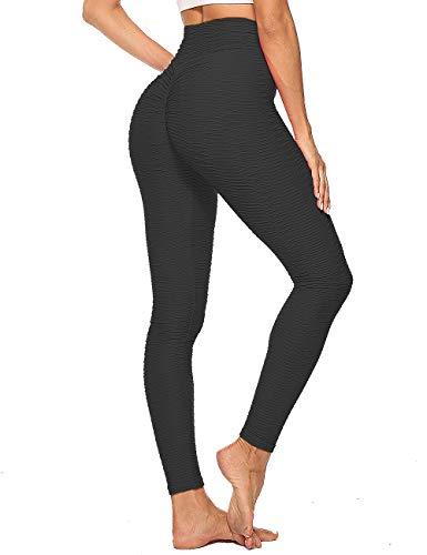 CROSS1946 Damen Yoga-Hose, hohe Taille, Bauchkontrolle, Fitnesshose, Workout, Laufen, Butt Lift Tights Gr. Large, Schwarz (Plus Size Damen Kompression Hose)
