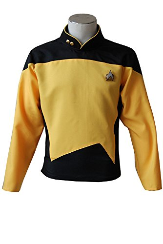 Tng Kostüm Uniform (Star Trek TNG The Next Generation Teal Shirt Hemd Uniform Cosplay Kostüm Gelb Herren)
