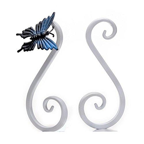 VORCOOL Ein Paar Buchstützen mit Schmetterling Tischdeko (Weiß) (Hohe Klassische Gepolsterte Metall)
