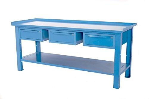 Werkbank L = 2MT mit Tischplatte aus Stahl + 3Schubladen einzelnen Serie Profi Industrie Sogi Cod. X3B _ C