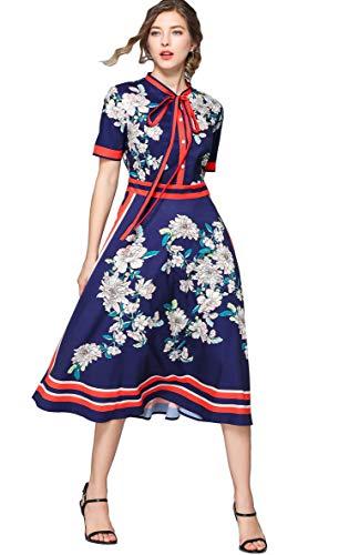 3/4 Ärmel Kleid (Sommer Elegant Damen Midi Kleid mit Blumenmustern & Barock Print A-Linie 3/4 Arm Oder Kurze Ärmel Hemdkleid Party Kleider)