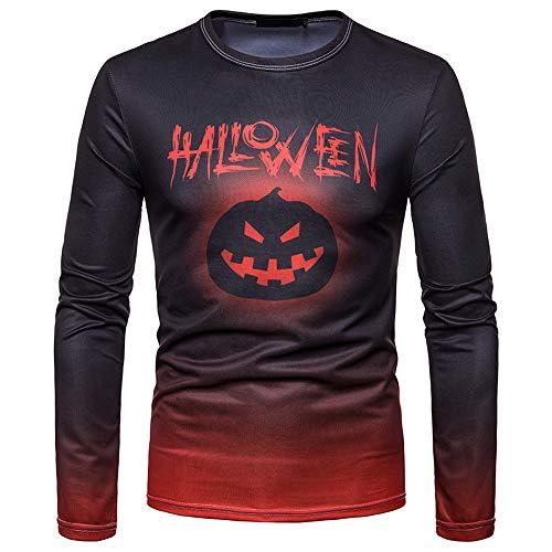 Alikeey camicia a maniche lunghe t-shirt da uomo a maniche lunghe con stampa alfabetica e stampa di halloween autunno inverno uomo con scollo tondo camicia casual