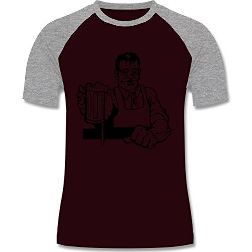Küche - Barkeeper - zweifarbiges Baseballshirt für Männer Burgundrot/Grau meliert