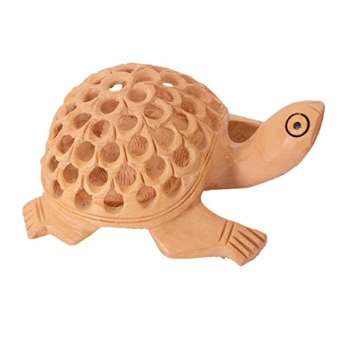 Purpledip Holz-Schildkröte mit Jaali-Schnitzarbeit; Miniaturfigur, Geschenk Vaastu Feng Shui Glücksbringer (10980)