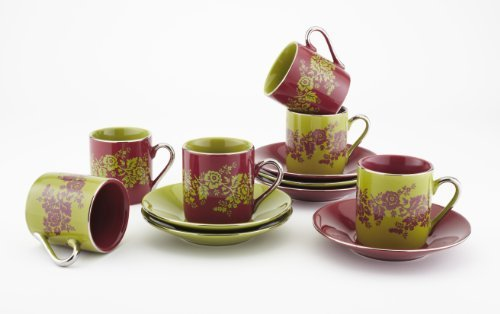 Yedi Houseware CC373 Floral Demitasse Cup and Saucer Set, Red and Green by Yedi Houseware Floral Demitasse Cup