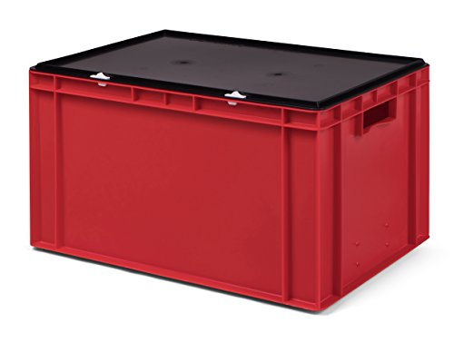 Transport-Stapelbox/Lagerbehälter rot, mit schwarzem Verschlußdeckel, 600x400x320 mm (LxBxH)