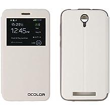 PREVOA® 丨 Flip PU S - View Carcasa Funda Case para Doogee Valencia2 Y100 Plus 4G LTE Smartphone 5,5 pulgadas Smartphone - Blanco
