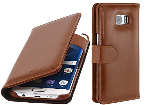 StilGut Talis, Hülle aus Leder mit Kreditkartenfach für Samsung Galaxy S7 Edge, Cognac - Cognac-reise-brieftaschen