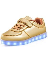 SAGUARO® Unisex niños USB Carga LED Luz Luminosas Flash Zapatos Zapatillas de Deporte