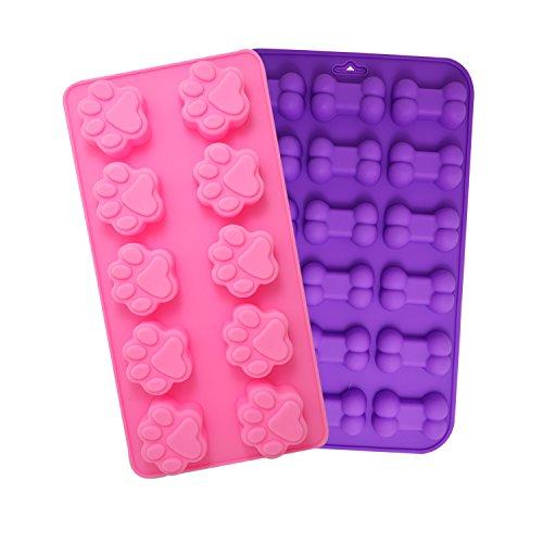 BronaGrand 2-TLG.Silikonform Hundepfote Knochen Schokolade Form Süßigkeiten Dekoration Förmchen...