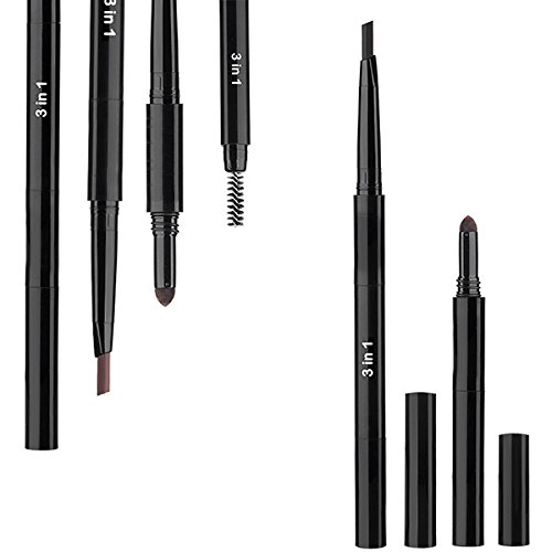 Frcolor 3 en 1 Crayon imperméable aux sourcils Poudre Brush Anti Sweat Eye Brow Makeup Set Long Durant (Noir 5)