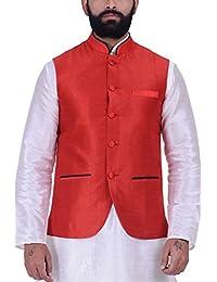 Kisah Red Dupion Silk Men's Waistcoat
