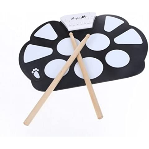 Portable rullo elettronico Drum Pad Kit Silicon pieghevole con bastone