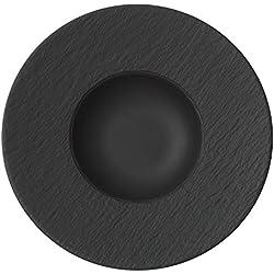 Villeroy & Boch Manufacture Rock - Plato para pasta, 29 cm porcelana premium, negro/gris