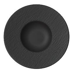 Villeroy & Boch Manufacture Rock Pastateller, 29 cm Premium Porzellan, Schwarz/Grau