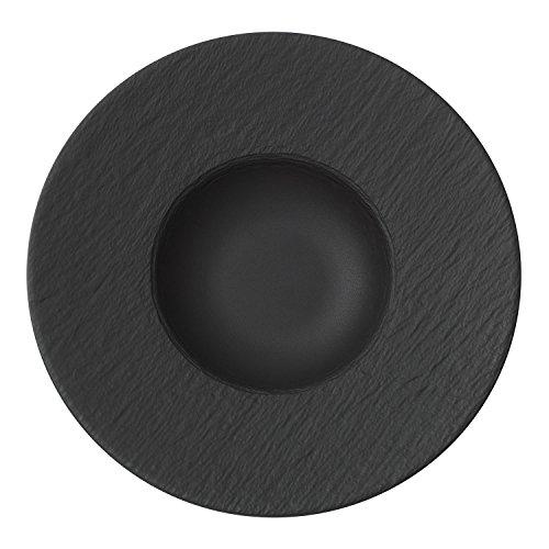 Villeroy & Boch - Manufacture Rock Pastateller, tiefer Teller für Pastagerichte, Premium Porzellan, schwarz, spülmaschinenfest, 29 cm