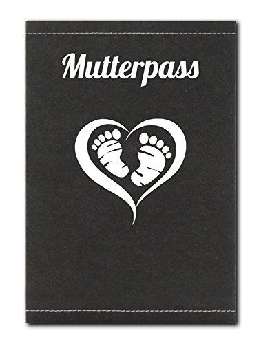 Schwarze Mutterpass Schutzhülle aus SnapPap Leder mit Herz und Füßen