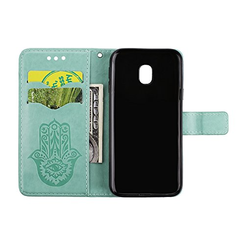 EKINHUI Case Cover Geprägte Palmen-Blumenmuster Retro PU-Leder-Mappen-Beutel-Kasten-Abdeckung mit Kartenschlitzen und Abzuglinie für Samsung-Galaxie J5 (2017) Europäische Ausgabe ( Color : Rosegold ) Green