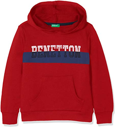 United Colors of Benetton Jungen Pullover Sweater W/Hood, Rot (Red 015), 128 (Herstellergröße: M)