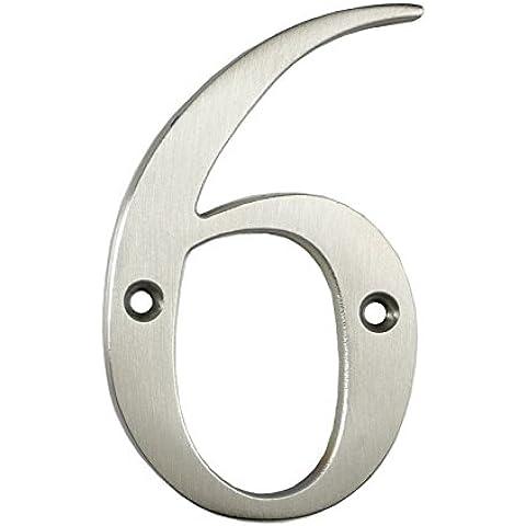 3inch sottile costiere Porta numero, colore: argento satinato porta numero 6–Non Pit o ruggine anche a la costa